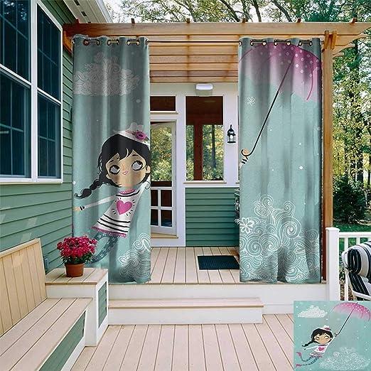 leinuoyi - Cortina para niñas, diseño de Bailarina, Color Rosa y marrón: Amazon.es: Jardín