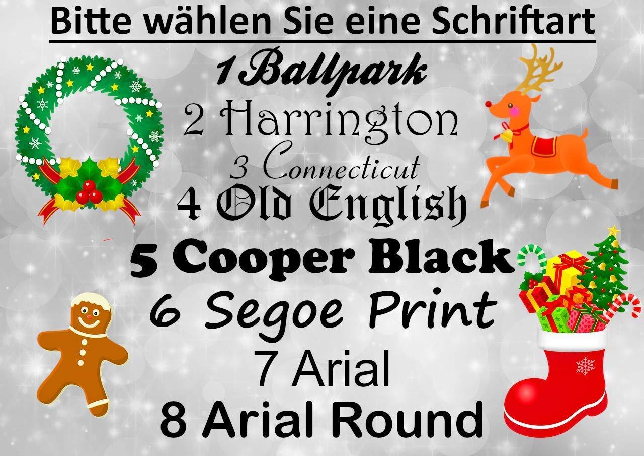 Christbaumkugel//Weihnachskugel mit Namen Gold matt 6 cm