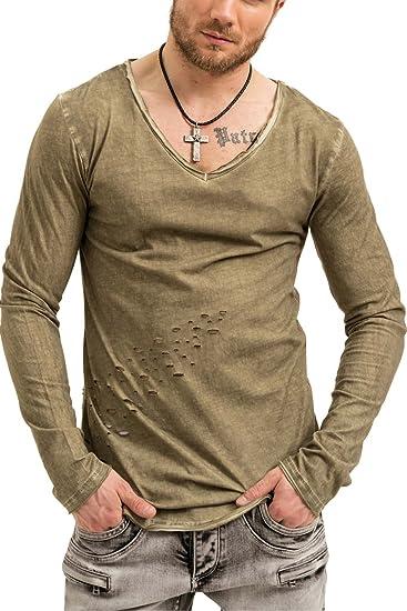 trueprodigy Casual Homme Tee Shirt Manche Longue uni Basique, Vetements  Swag Marque col V ( 85a76a92e0dd