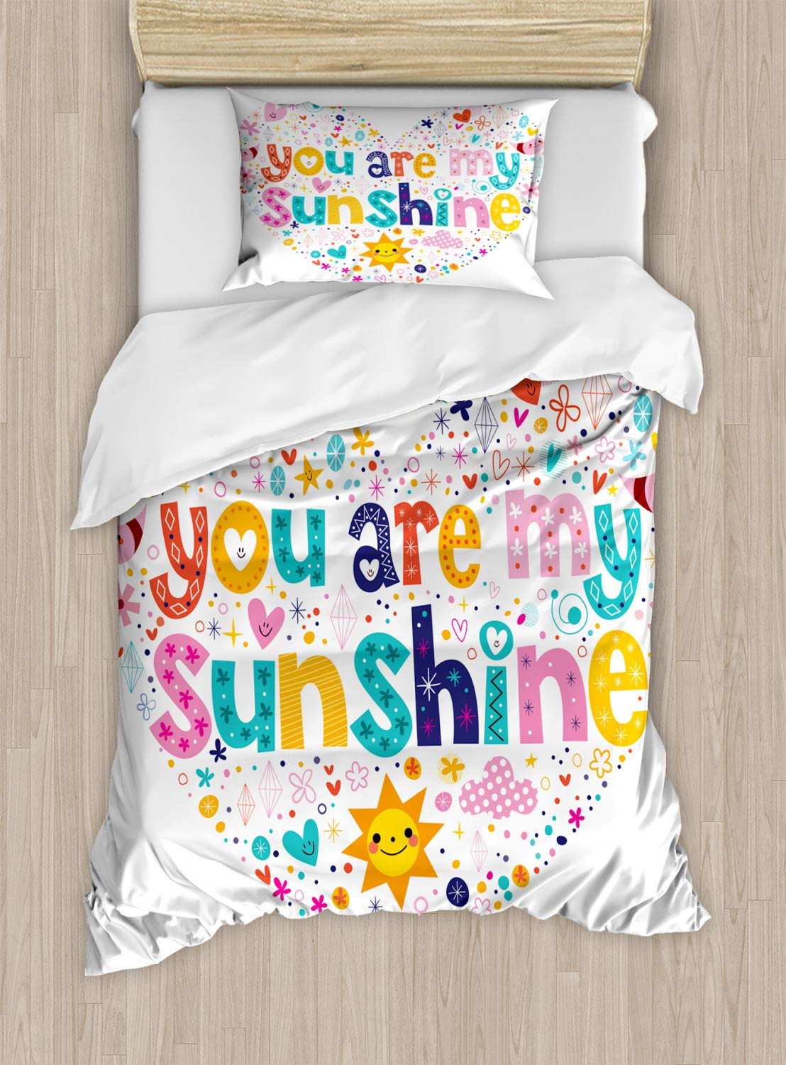 Ambesonne Saying Duvet Cover Set, Heart Shaped Sunshine Motivational Words with Stars Circle Sun Cloud Infant Design, Decorative 2 Piece Bedding Set with 1 Pillow Sham, Twin Size, White Pink