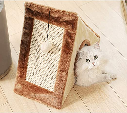 XianghuangTechnology Cama para gatos 2 en 1 con poste rascador triangular para gatos, casa para gatos totalmente plegable, para interiores y exteriores (marrón): Amazon.es: Productos para mascotas