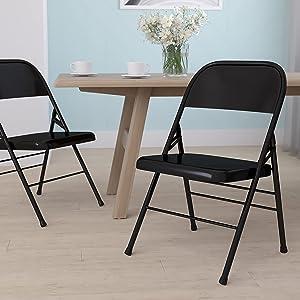 Flash Furniture Black Metal Folding chair, 1 Pack