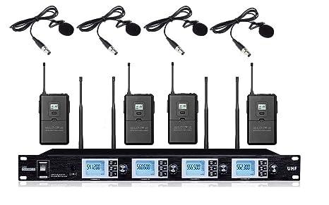 Boly 4 canales profesional UHF solapa lavalier corbata sistema de ...