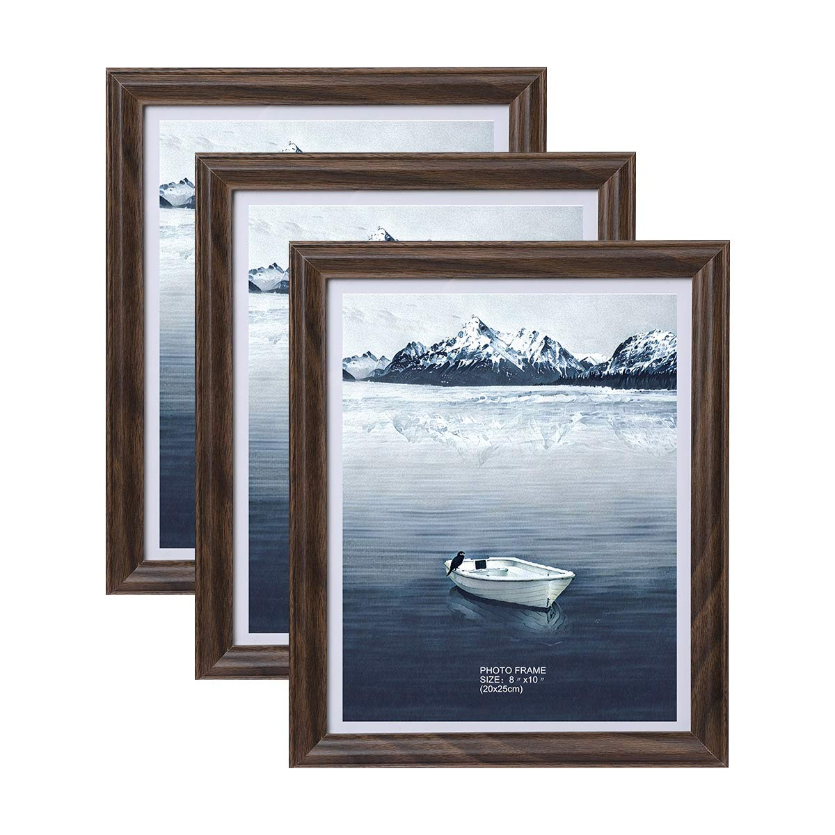 Metrekey 8x10 Photo Frames 3 Pack Brown Wood Picture Frame Set with High Definition Glass for Wall Mount & Table Top Display by Metrekey