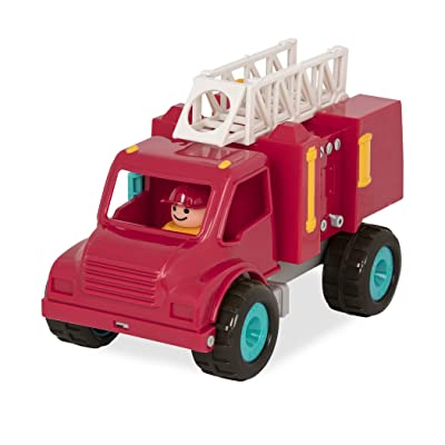 Battat - Fire Engine Truck with Working Movable Parts & 2 Firefighters Figurines - Toy Trucks For Toddlers 18M+: Toys & Games