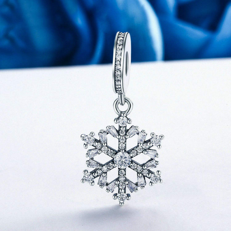 EverReena Hot Snowflake Dangle Silver Beads Bracelets