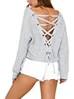 Simplee Women's Autumn Winter Warm Sexy V Neck Lace Up Backless Pullover Sweater