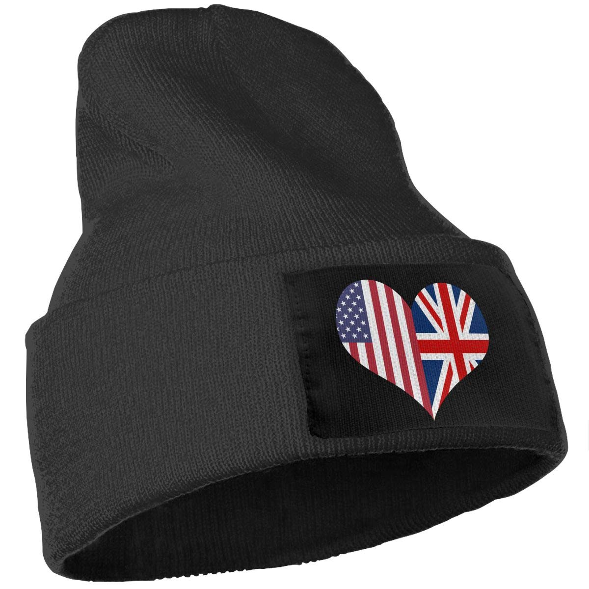 COLLJL-8 Men//Women British American Flag Heart Outdoor Stretch Knit Beanies Hat Soft Winter Skull Caps