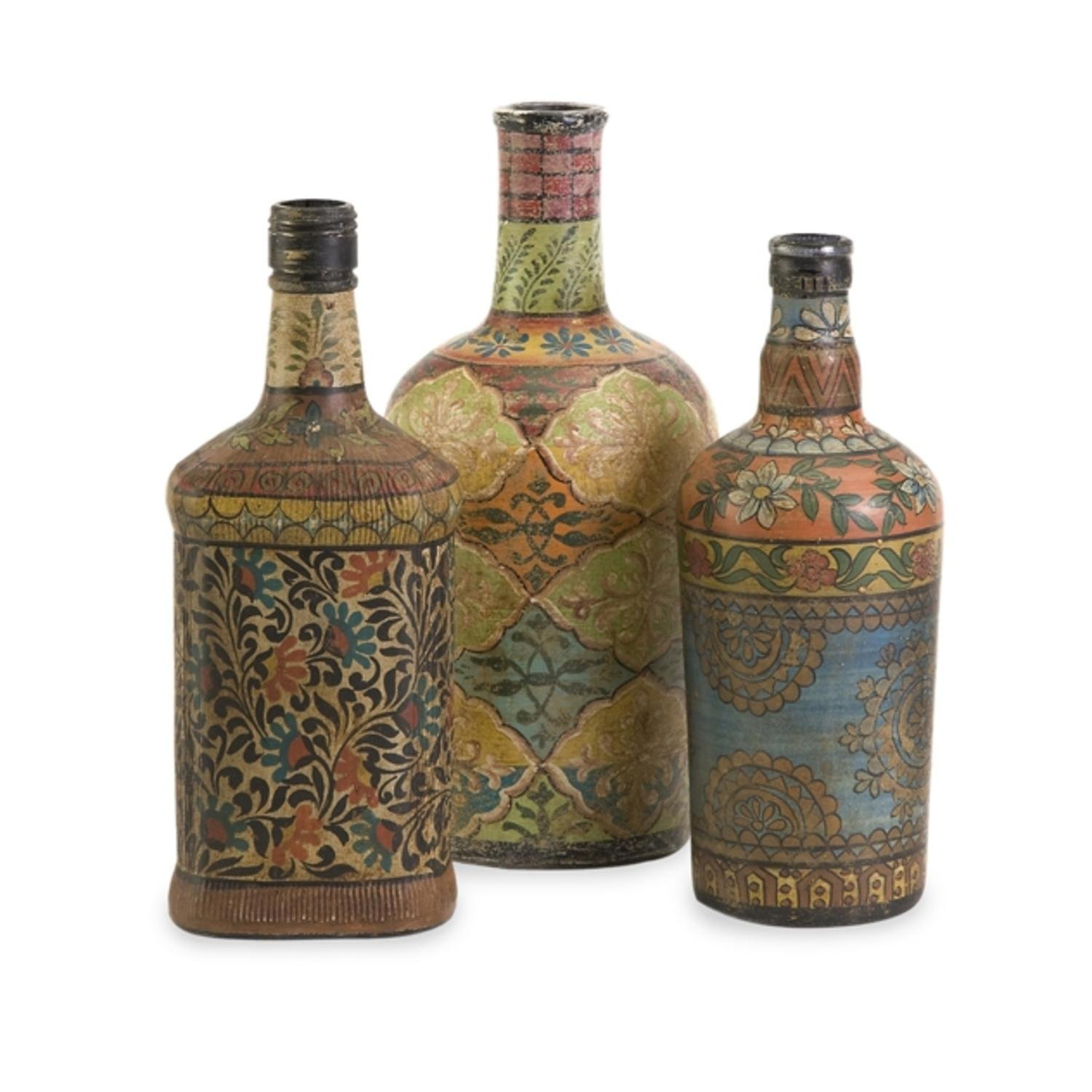 Set of 3 Decorative Rustic Floral Print Bottles by CC Home Furnishings