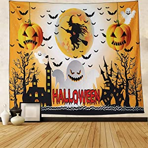 """NASKY Halloween Tapestry Pumpkin Wall Tapestry Decorations Bat Witch Tapestry Wall Hanging for Halloween Party Decor Room(51.2"""" X 59.1""""-(130x150cm))"""