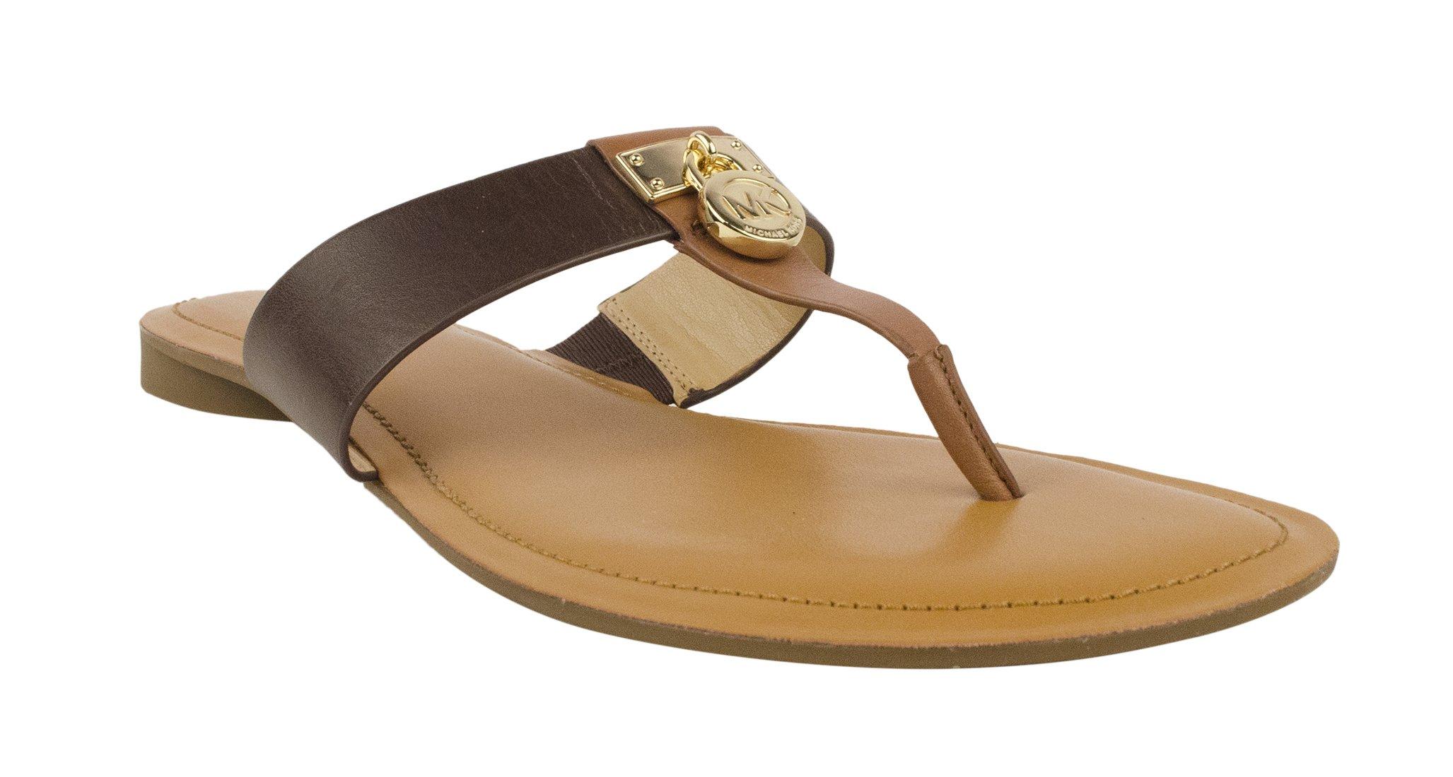 MICHAEL Michael Kors Women's Hamilton Flat Walnut/Java Vachetta Sandal 5.5 M