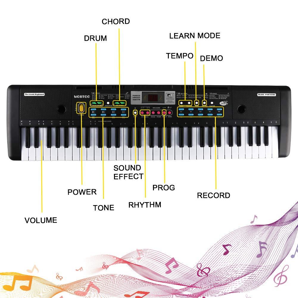 Negro Magicfun Teclado de Piano Port/átil 61 teclas RecargableTeclado Electr/ónico Piano con Micr/ófono Teclado port/átil Regalo para Ni/ño Ni/ña Principiantes #1 Teclado Electr/ónico Piano