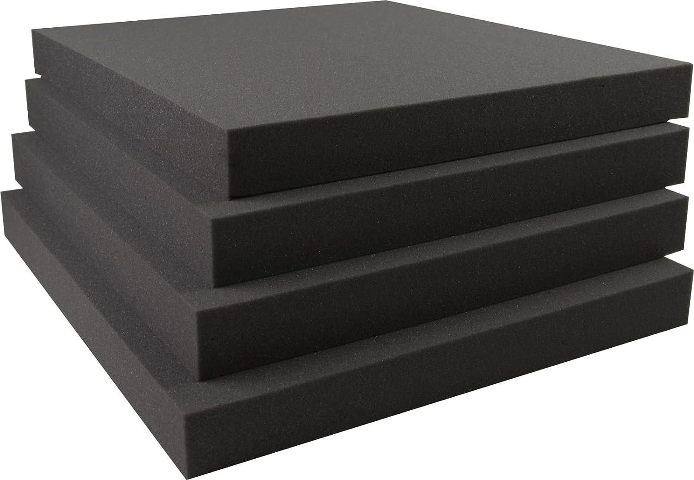 Akustikschaumstoff Breitbandabsorber glatt RG26-500mm x 500mm x 80mm - 4er Set – 1m² Frankenschaum G0450050008R26