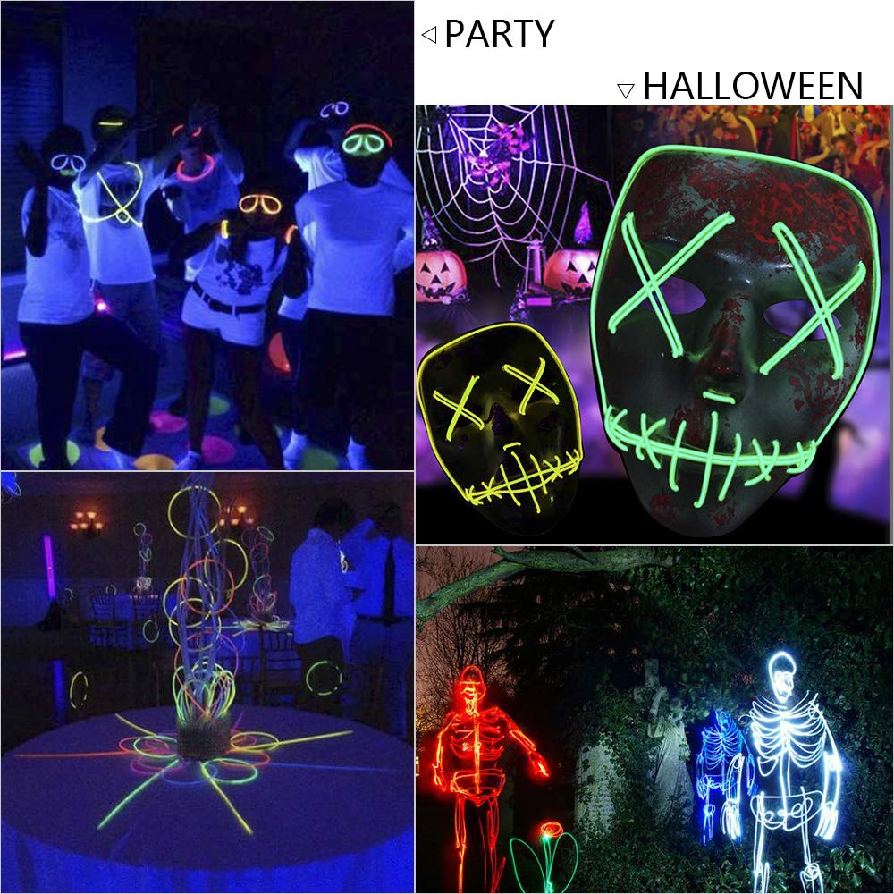 Zitrades EL Wire Neon Lights Yellow 15ft Portable Neon Glowing Strobing Electroluminescent Wire with Battery Pack