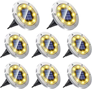 Solar Ground Lights, 8 LED Solar Disk Lights Outdoor 8 Pack, Waterproof In-Ground Garden Landscape Lighting for Yard Deck Lawn Patio Pathway Walkway (Warm White)