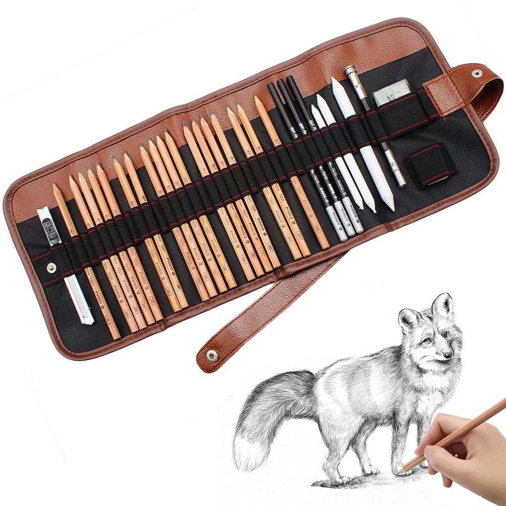 Sketch Pencil Drawing Pencil Set, 18 pcs pencils sketching pencils set for Beginners - Sketch/Charcoal pencil, Erasers Craft Knife Pencil Extender for Students, Kids & Adults Homvan
