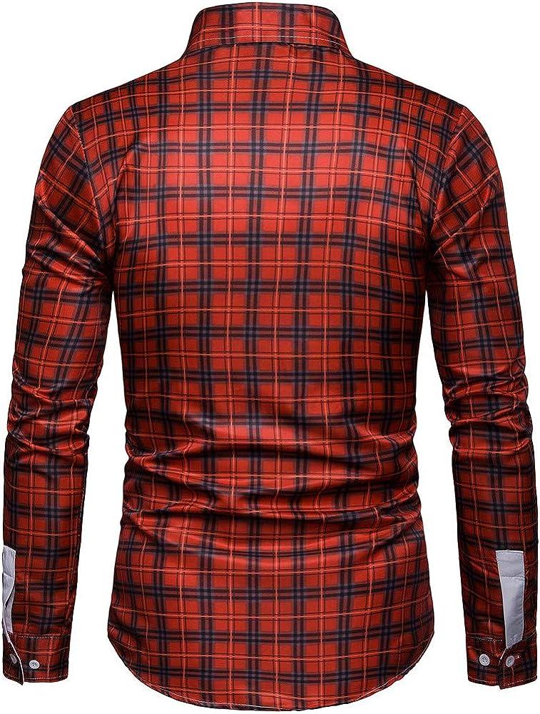 Sencillo Vida Camisas Cuadros Hombre Manga Larga Estampadas Tallas Grandes Camisas de Hombre de Vestir Slim Fit Camisa Hombres Casual Formales Plaid Clásico Cuello de Solapa con Botones: Amazon.es: Ropa y accesorios