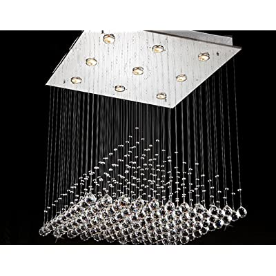 """'Lampes moderne Contemporary acier inoxydable saugen Top Plate """"pluie Drop Lustre Dessin Hanging Corde Éclairage et Crystal Ball L50cm W50cm * H de 60m 40wgu10pour le salon chambre lu"""