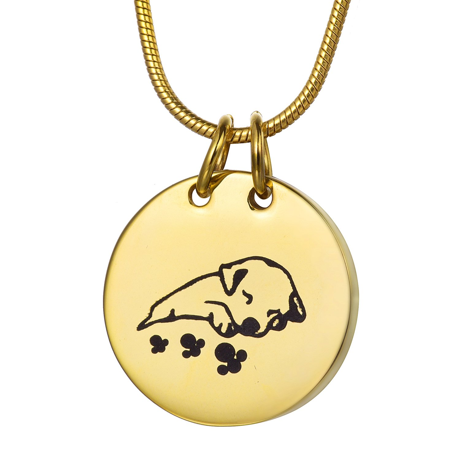 COCO Park Gold Engraving Sleeping Dog Pet Cremation Necklace Memorial Ashes Urn Pendant Jewelry Keepsake
