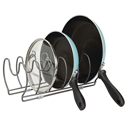 MDesign Metal Wire Pot/Pan Organizer Rack For Kitchen Cabinet, Pantry  Shelves, 6