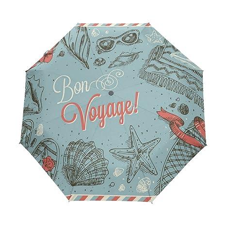 COOSUN Marco de vacaciones Buen viaje automático 3 plegable del paraguas del parasol Color # 001