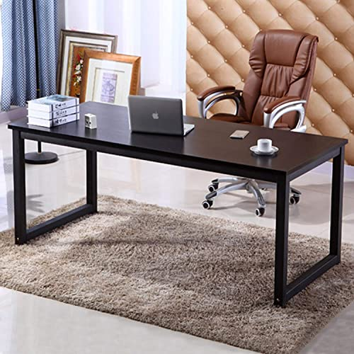 63 X-Large Computer Desk, Has Wide Workstation Tabletop for Writing,Games and Home Work,Modern Office Desk Dining Table Made of The Finish Wood Board and Sturdy Steel Legs Black