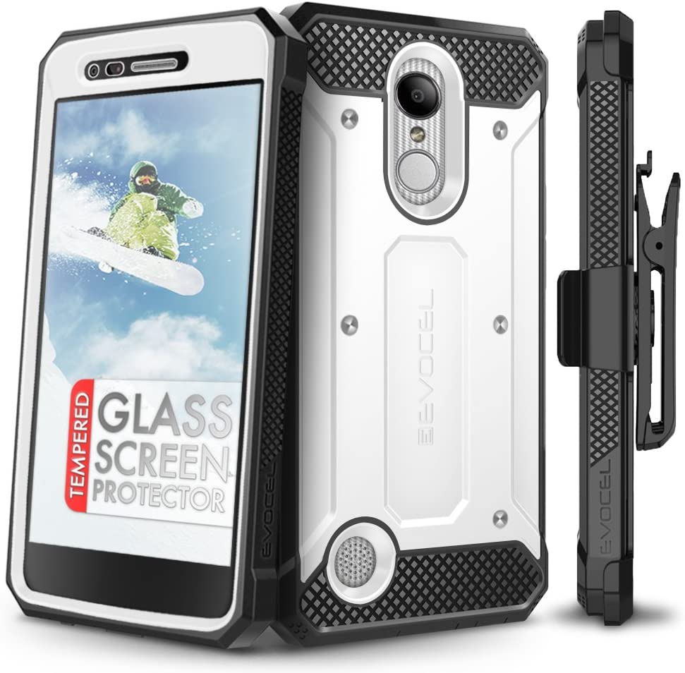 LG Aristo Case, Evocel [Explorer Series] Premium Full Body Case with Rugged Belt Clip Holster for LG Aristo/LG K4 (2017) / LG Rebel 2 / LG Fortune/LG Phoenix 3 / LG K8 (2017), White