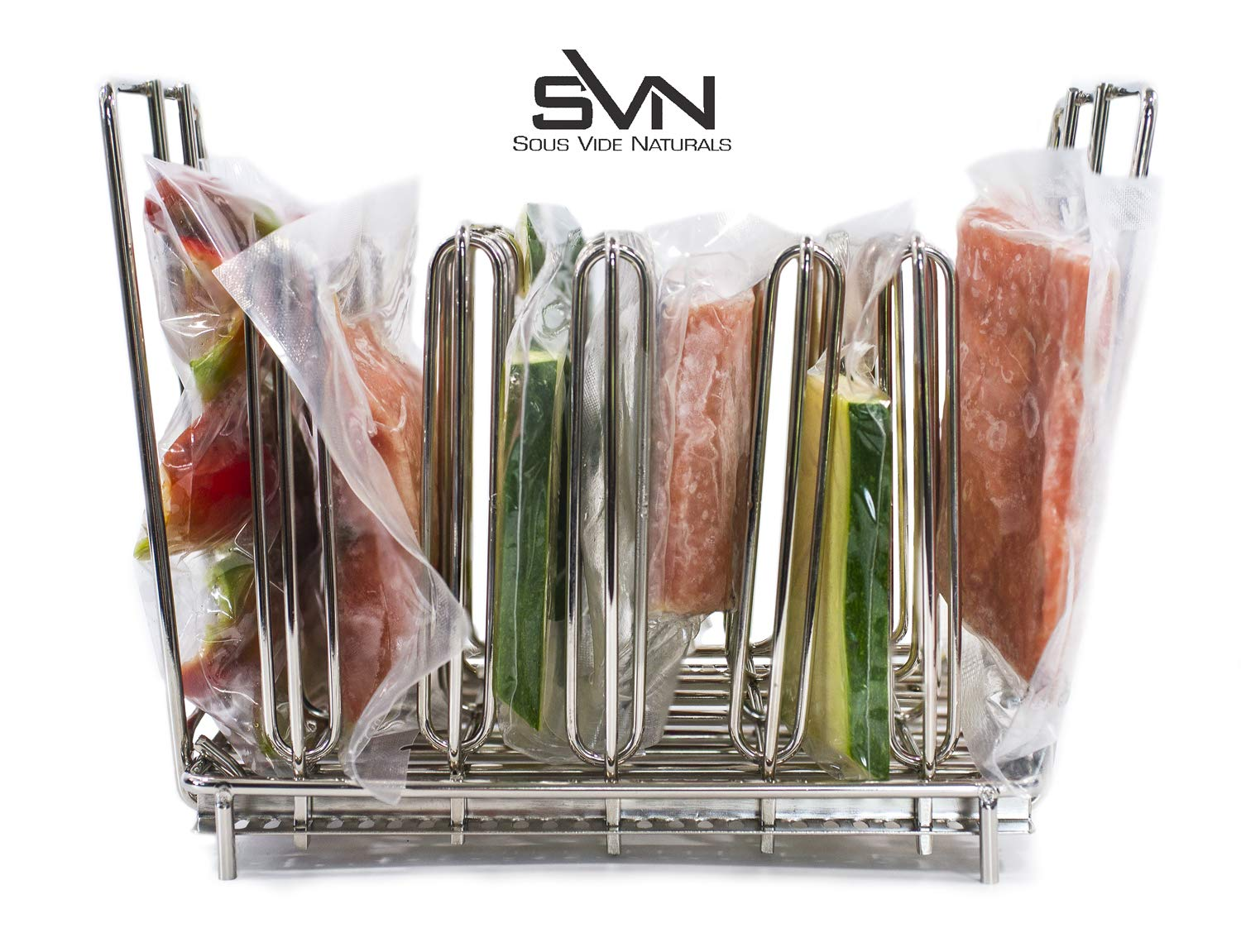 Sous Vide Rack For Anova, Nomiku, Sansaire, PolyScience All Sous Vide Cooker Immersion Circulator Cookers - Adjustable Stainless Steel, Collapsible, Even Warming - Sous Vide Rack Divider Is Heavy Duty & Rust Resistant Works With Most Sous Vide Containe