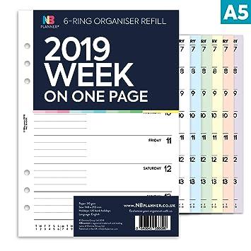 NBplanner® 2019 - Agenda de 6 anillas (tamaño A5), diseño ...