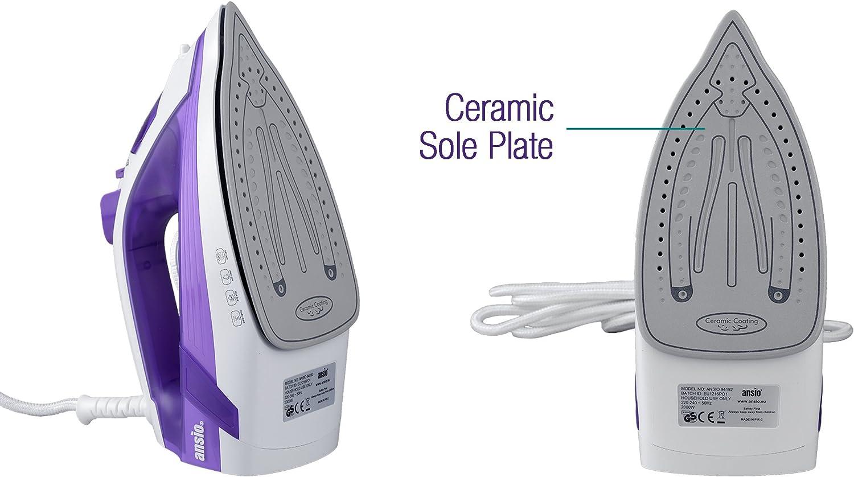 10ft Power Cord ANSIO Steam Iron Light Weight Ceramic Soleplate 2000 Watts 3M