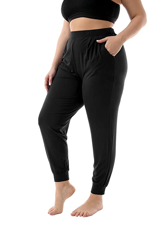 ZERDOCEAN Women's Plus Size Casual Stretchy Relaxed Lounge Pants Black 2X