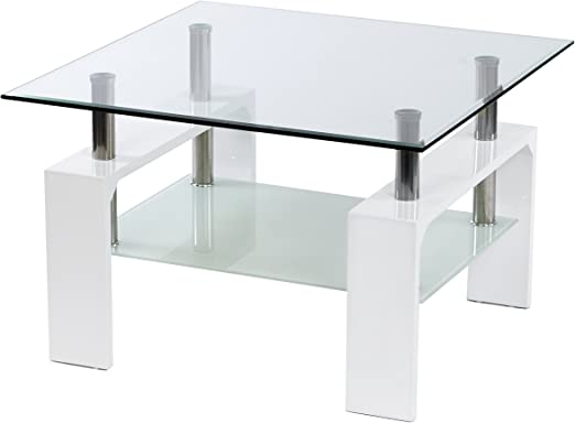 ts-ideen - Mesa de cristal ESG auxiliar madera blanco 70 x 70 cm ...