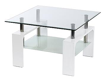 Design Glastisch Beistelltisch Edelstahl Hochglanz Weiß + 8 mm ESG ...