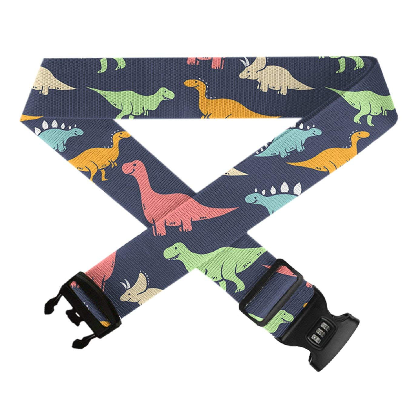 Funny Dinosaurs 1 PC Durable Suitcase Straps TSA Approved Lock for Travel Bag Accessories GLORY ART Adjustable Travel Luggage Belts