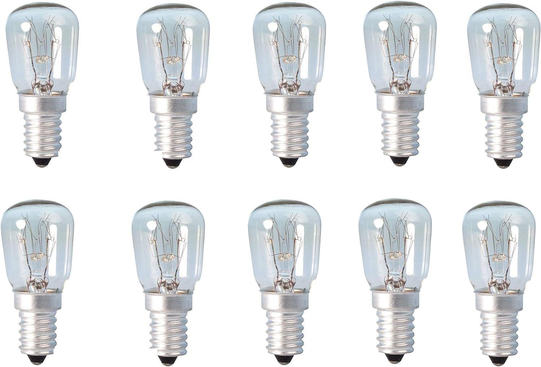 10 bombitas para lámparas de sal del Himalaya, para heladera, horno, microondas, máquina de coser, de 15w, rosca e14 ...