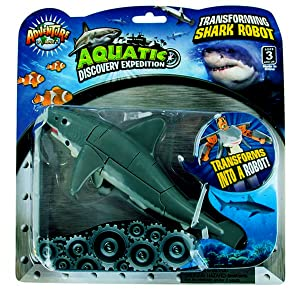 """Aquatic Discovery Expedition Transforming Great White Shark to Robot Toy ~ 5"""" Action Figure ~ Great Gift for boys and girls!"""