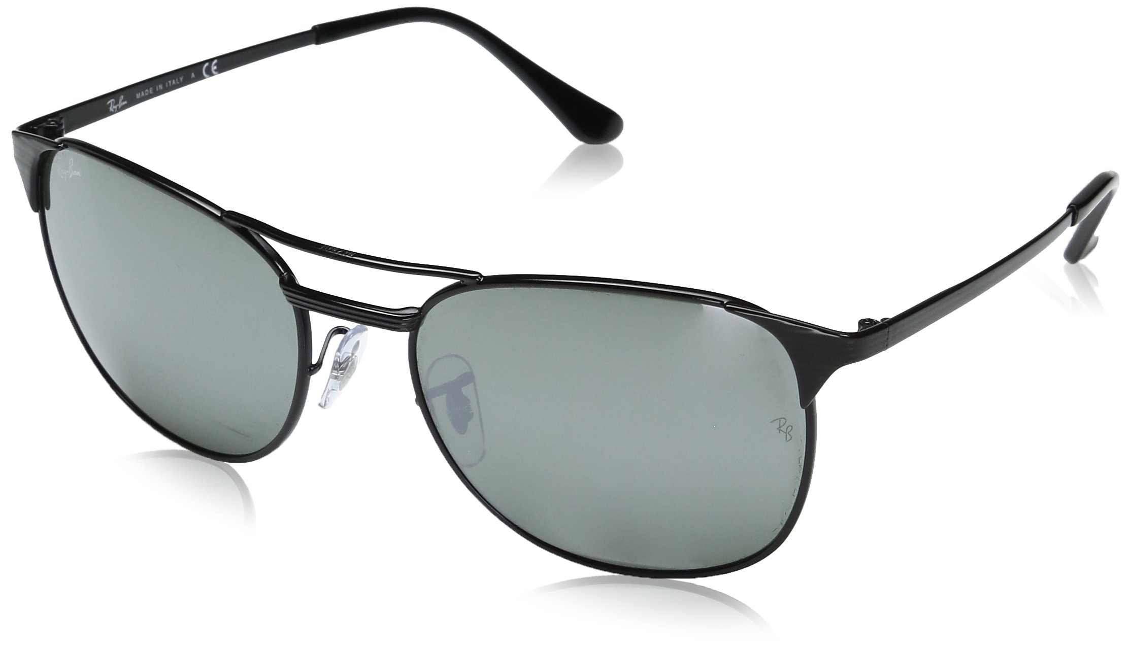 Ray-Ban Men's Metal Man Square Sunglasses, Shiny Black, 58 mm