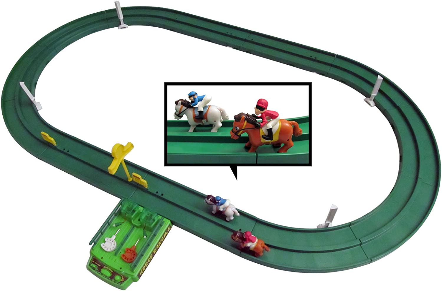 Horse Racing Track Game Set For Kids With 2 Race Horses Amazon Co Uk Toys Games