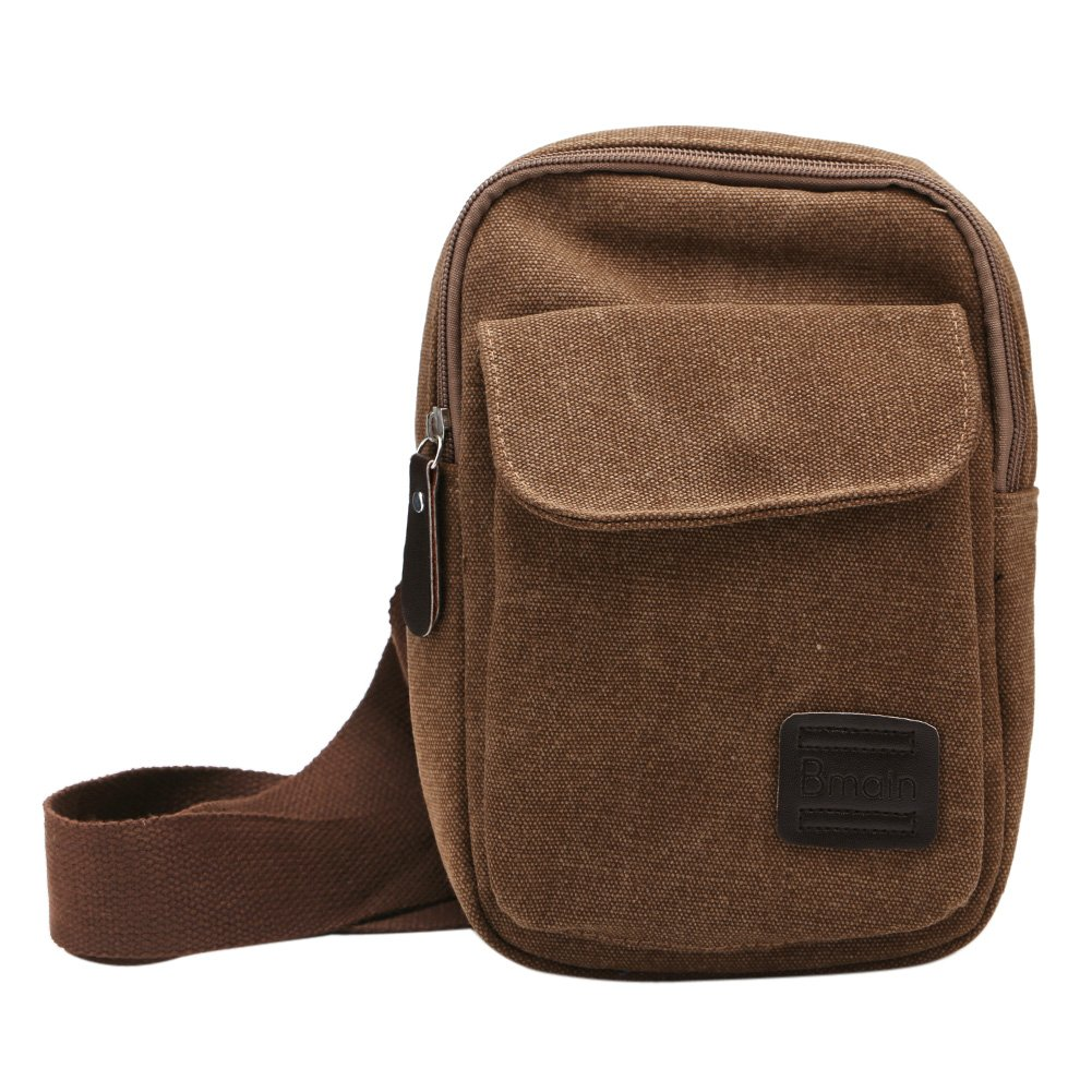 5e36a77a290d Chest Bag Canvas Fabric Shoulder Chest Pouch Adjustable Travel Backpack  Cross Body Bag for Outdoor Camping