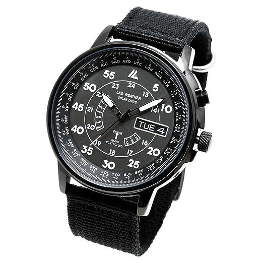 Lad Weather - Reloj de pulsera solar con radiocontrol, automático, configuración de hora, calendario perpetuo y de la hora mundial: Amazon.es: Relojes