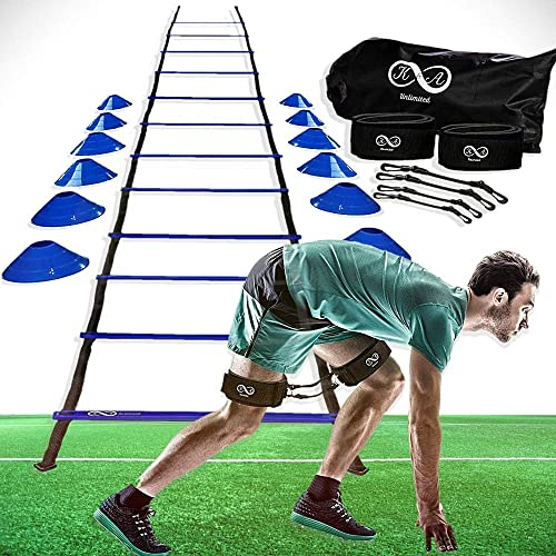 K A Unlimited Speed and Agility Training Equipment Set – Ladder, Cones, Pegs, Leg Resistance Bands, Carrying Bags, Soccer, Football, Basketball, Track Field, Exercise Fitness Kit