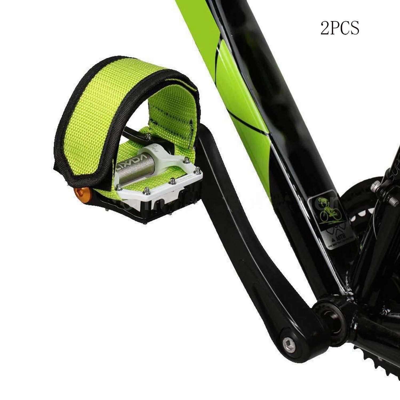 Fukalu 自転車 ペダルストラップ ナイロン ペダルストラップ 耐久性 2本 B073B6R13Lグリーン