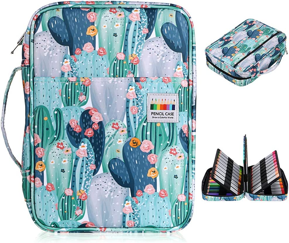 160 Slots Pencil Holder Pen Bag Large Capacity Pencil Organizer with Handle Strap Handy Colored Pencil Box with Printing Pattern Blue Flower BTSKY Colored Pencil Case