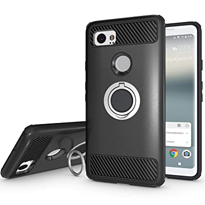 Newseego Compatible with Google Pixel 2 XL Case with Armor Dual Layer 2 in 1 with Extreme Heavy Duty Protection and Finger Ring Holder Kickstand Fit Magnetic Car Mount for Google Pixel 2 XL-Black: MP3 Players & Accessories [5Bkhe0918979]