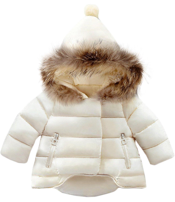 Jojobaby Baby Boys Girls Hooded Snowsuit Winter Warm Fur Collar Hooded Down Windproof Jacket Outerwear (12-18 Months, Beige)
