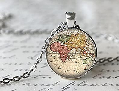 Amazon world map necklace antique map necklace globe necklace world map necklace antique map necklace globe necklace gumiabroncs Image collections