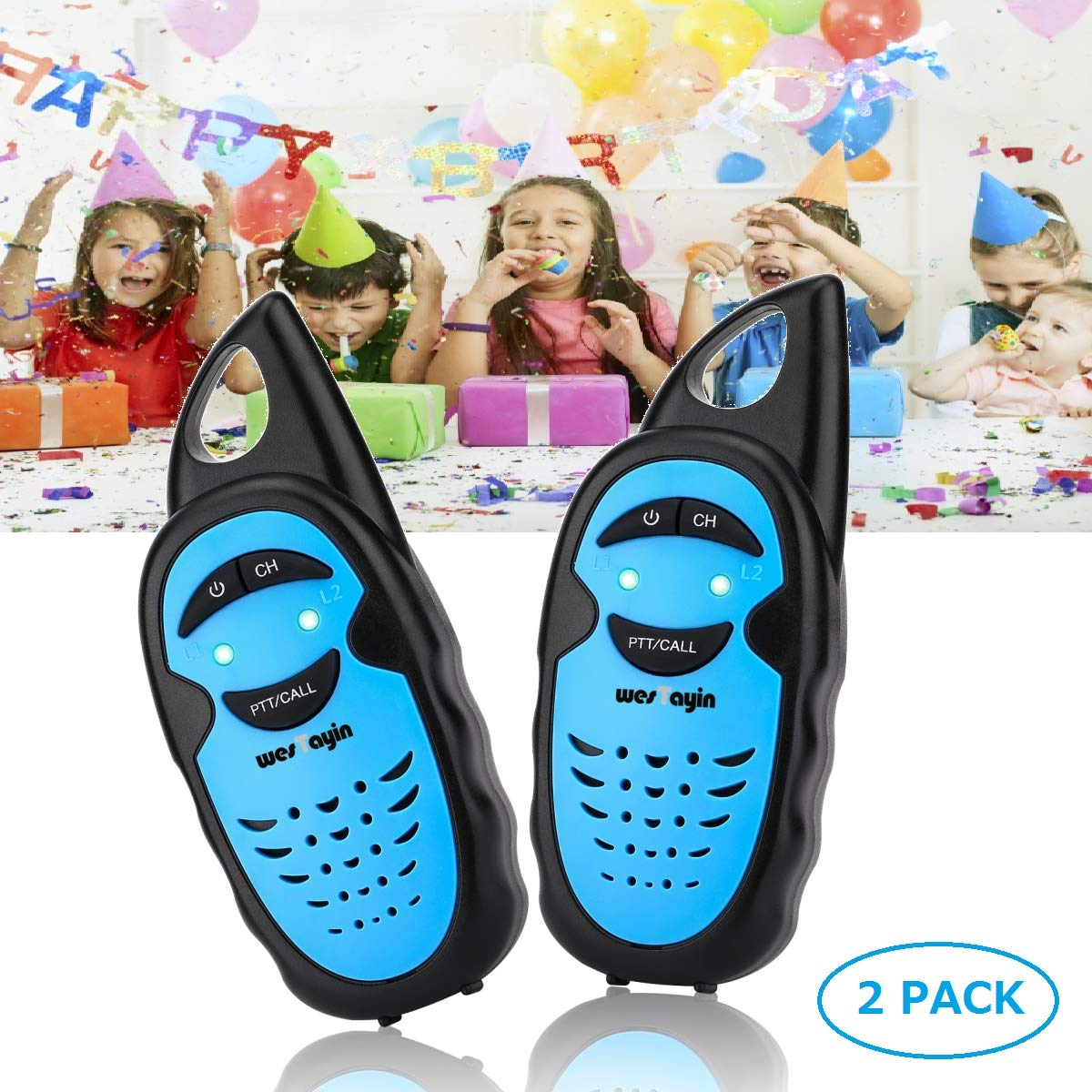 WES TAYIN Upgraded Walkie Talkies for Kids, Up to 2-Mile and 3 Channels Easy to Use Walkie Talkies for Toddlers, Toy Walkie Talkies for Little Hands Boys Gifts by WES TAYIN (Image #1)
