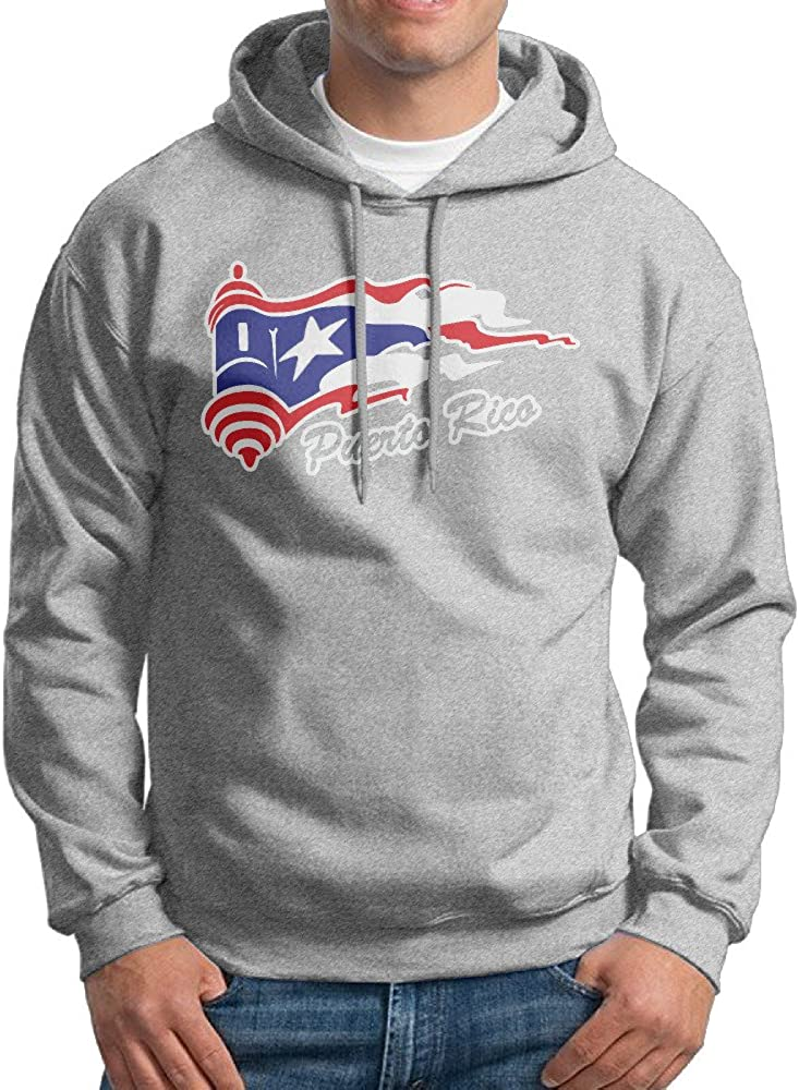 EL Morro with Puerto Rican Flag Men's Hoodies Sweatshirt Winter Shirt Ash
