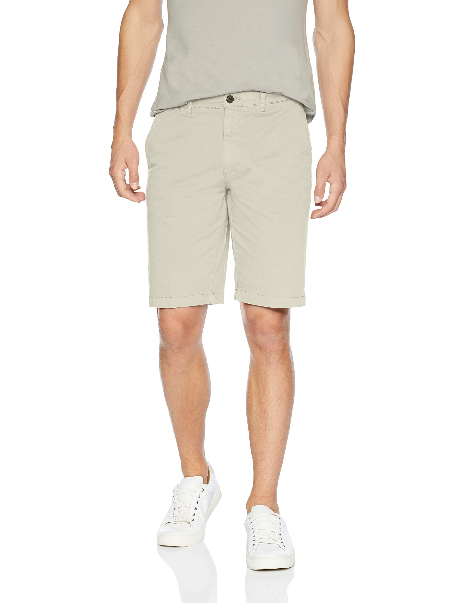 Goodthreads Men's 11'' Inseam Flat-Front Stretch Chino Shorts, -moonbeam, 38 by Goodthreads