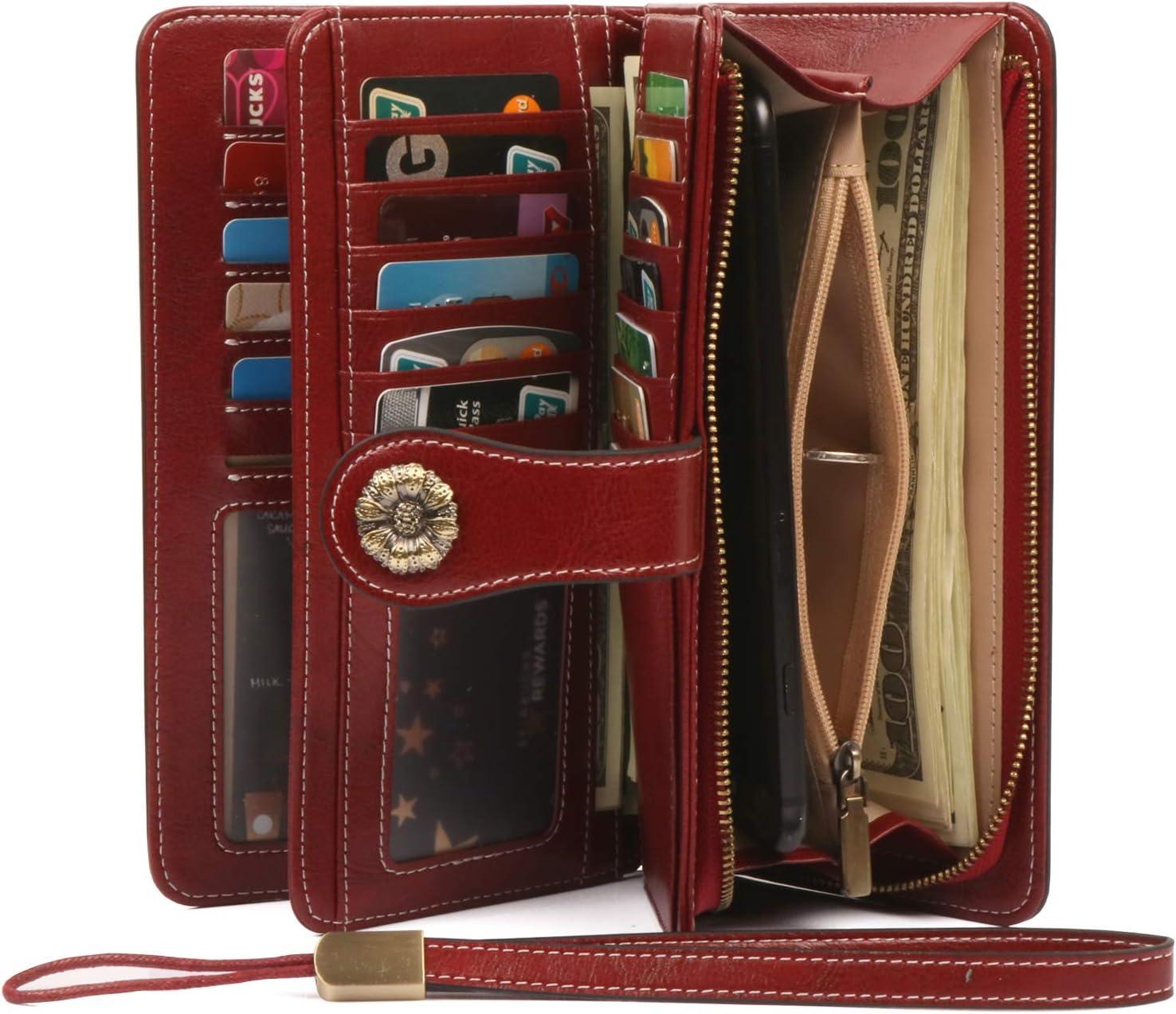 RFID Blocking Women Clutch Wallet Genuine Leather Long Wristlet Wallet Ladies Purse Credit Card Holder Coin Money Organizer Red